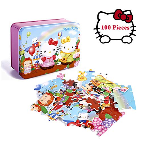 Hello Kitty Puzzles for Kids Beautiful Artwork Jigsaw Puzzle for Girls 100 Piece Cat Puzzle Gifts(Happy Garden)]()