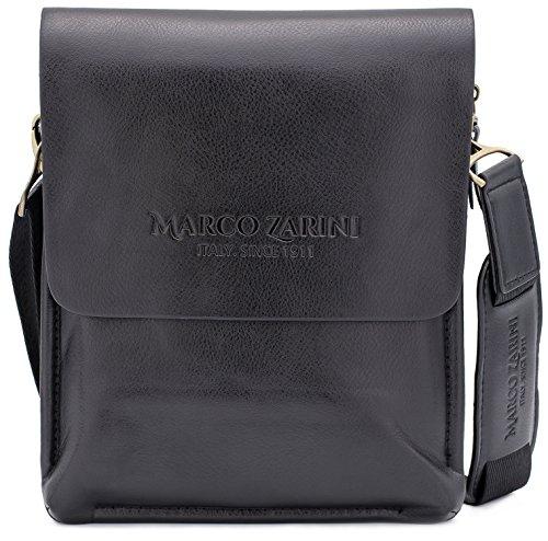 Marco Zarini Crossbody Bag For Men Eco Leather Briefcase Shoulder Bag Messenger Bag For iPad Mini (Black) (Bag Ergonomic Messenger)