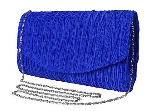 Peach Couture Womens Vintage Satin Pleated Envelope Evening Cocktail Wedding Party Handbag Clutch (Blue)