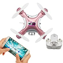 WiFi & Remote Controlled Mini Quadcopter, Volarvin® - Super Micro Quadcopter RC Drone, Camera Led Lights & Remote 2.4G 4 Channel 3D Gyro 6 Axis with 360 Stunt Spin Flips (Only 4.5x4.5x2.5cm) Rose Gold