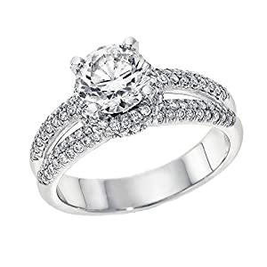 IGI Certified 14k white-gold Round Cut Diamond Engagement Ring (1.12 cttw, G Color, VS2 Clarity) - size 5