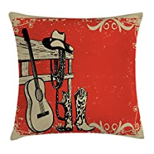 Western Throw Pillow Cushion Cover by Ambesonne, Image of Wild West Elements with Country Music Guitar and Cowboy Boots Retro Art, Decorative Square Accent Pillow Case, 20 X 20 Inches, Red Beige