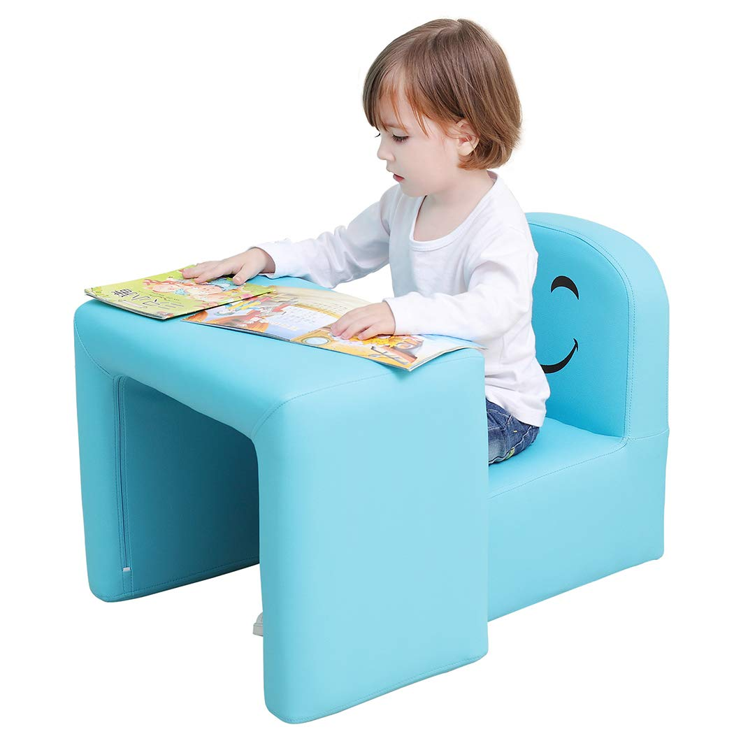 Emall Life Multifunctional 2in1 Children's Armchair Kids Wooden Frame Chair and Table Set CPSC Certified Boy's and Girl's Armrest Chair Easy to Clean (Blue)