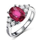 Amazing Solid 14K White Gold Natural Oval Cut Vintage Pink Tourmaline Gemstone Natural Diamond Wedding Promise Band Ring