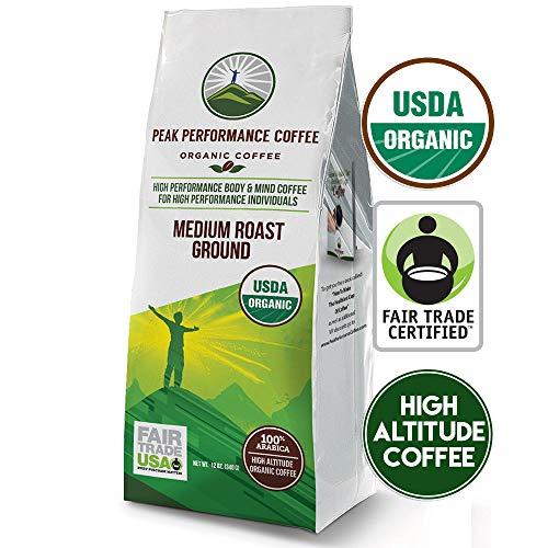 Peak Performance High Altitude Organic Coffee. No Pesticides, Fair Trade, Non GMO, and Beans Full Of Antioxidants! Medium Roast Low Acid Smooth Tasting USDA Certified Organic Ground Coffee 12oz Bag (Organic Low Acid Coffee)