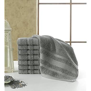 Berrnour Luxury Hotel and Spa Washcloths 16-Piece Set Grey 13  X 13  Turkish Cotton