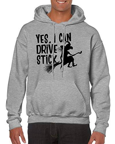 SpiritForged Apparel Yes, I Can Drive Stick Hooded Sweatshirt, Light Gray -