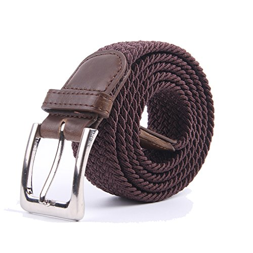 (Canvas Elastic Fabric Woven Stretch Multicolored Braided Belts 2041-Coffee-L)