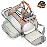 OUMAL Expandable Airline Approved Soft Sided Pet Carrier Oxford Tote with Fleece Bed, Premium Zippers and Safety Clasp for Small Dogs and Cats