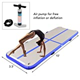 Goplus 10′ x 3.3′ Inflatable Gymnastic Mat Air Track Tumbling Mat with Pump Air Floor for Home Use, Beach, Park and Water