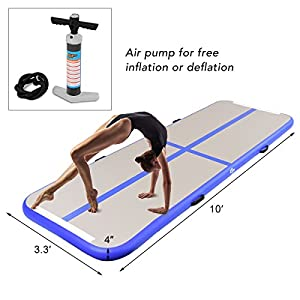 Goplus 10' x 3.3' Inflatable Gymnastic Mat Air Track Tumbling Mat with Pump Air Floor for Home Use, Beach, Park and Water