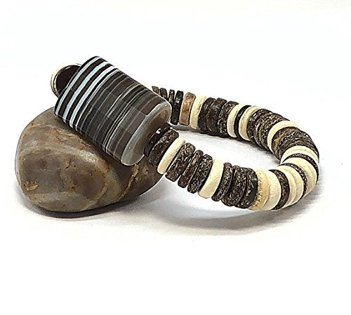 Banded Wood (Stretch Bracelet Rustic Gifts Coconut Wood Banded Striped Onyx)