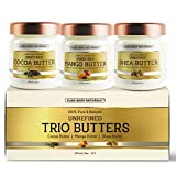 natural curl stretching cream - Triple Butters Gift Set - Shea Butter Cocoa Butter and Mango Butter Unrefined 100% Pure & Natural (3 jars x 8 oz ) by Pure Body Naturals