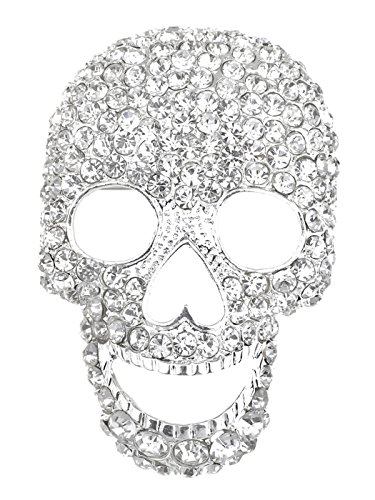 Alilang Silvery Tone Clear Crystal Colored Rhinestones Big Skull Head Face Brooch Pin