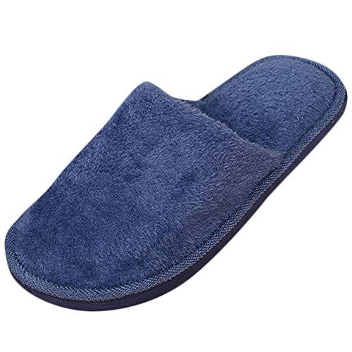NUWFOR Men Warm Home Plush Soft Slippers Indoors燗nti-Slip Winter Floor Bedroom Shoes?Navy,9.5-10.5 M US?