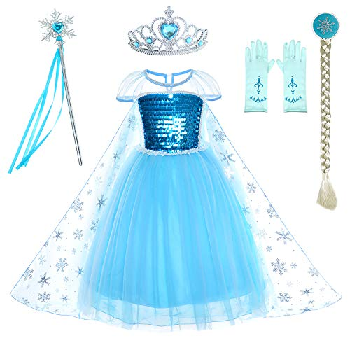 Snow Queen Princess Elsa Costumes Birthday Dress Up for Little Girls with Crown,Mace,Gloves Accessories 6-7 Years(130cm) -