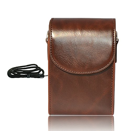 First2savvv dark brown premium quality genuine leather camera case pouch bag with shoulder strap for Canon PowerShot SX270 HS PowerShot SX280 HS SAMSUNG WB850F WB150F WB150 WB750 WB700 EX1 EX2F WB250F WB800F Nikon COOLPIX P310 COOLPIX P300 COOLPIX S9300 C by first2savvv