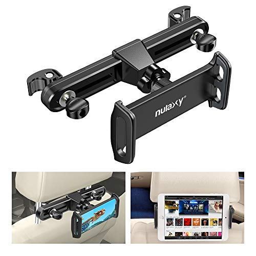 "Nulaxy Headrest Tablet Mount, Upgraded Tight Screw Lock Car Headrest Holder Mount Compatible with Smartphones/Tablets/Switch 4.7""-11"", Headrest Posts Width 3.6""-6.6"""