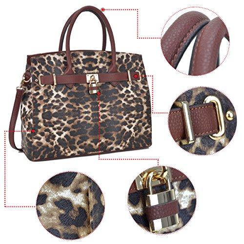 Bag Satchel Shoulder Handle 2731 Padlock Purse Briefcase Designer Leopard Dasein Handbags Tote Leather Women's Faux Top Bag Laptop qtwEtx8z