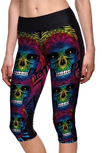 COCOLEGGINGS Women's Halloween Skeleton Elastic Waist YOGA Running Pants XL for $<!--$13.99-->