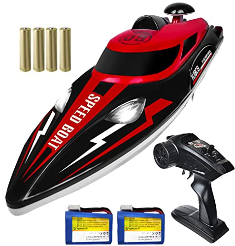 RC Boat - Sunallin 20+ MPH Speed Fast Radio Controlled Boats with LED Light for Pools and Lakes, 2.4GHz Remote Control Boat with 2 Rechargeable Battery for Adults and Kids - Red