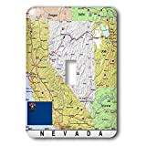 3dRose Lens Art by Florene - Topo Maps, Flags of States - Image of Nevada Topographic Map With State Flag - Light Switch Covers - single toggle switch (lsp_291416_1)