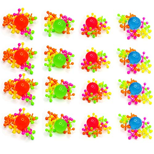 Kicko Plastic Jacks Set Jacks Game - Assorted Neon Colors - Pack of 16 - 10 Jacks and 1 Ball Per Pack, Jacks and Balls are 1 Inch, Classic Game -