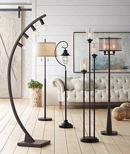 Libby Vintage Floor Lamp 3-Light Oiled Bronze Amber Seedy Glass Dimmable LED Edison Bulb for Living Room Bedroom - Franklin Iron Works by Franklin Iron Works (Image #2)