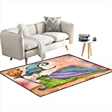 """Room Home Bedroom Carpet Floor Mat Snail in a Witch Costume Hanpaintewatercolor Illustration 48""""x64"""""""