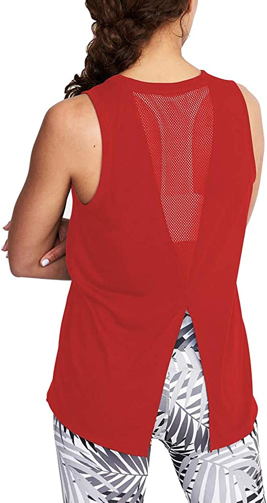 Mippo Womens Cute Workout Clothes Mesh Yoga Tops Exercise Gym Shirts Running Tank Tops