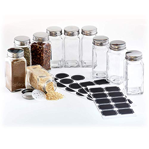 Hayley Cherie - 6 Oz Large Square Glass Spice Jars (Set of 10) - Chalkboard Labels, Stainless Steel Lids and Shaker Inserts