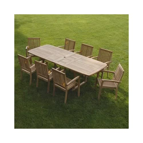 New 9pc Grade-A Teak Outdoor Dining Set-one Double Extension Table & 8 - Teak Outdoor Furniture: Amazon.com