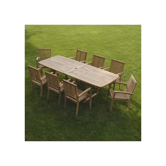 New 9pc Grade-A Teak Outdoor Dining Set-one Double Extension Table & 8 Patara Stacking Arm Chairs - Extra Thick (1.5 table frame table and 8 stacking chairs. Table measures 63/73/84(L)X40(W)inches (NO/ONE/Two extensions). Larger tables also available Stacking Chair is 23X23X34 Indonesian Teak NOT subspecies or inferior S American or African Teak wood, Tenon & Mortise construction using Indonesian Grade-A Kiln Dried teak wood. FSC certified manufacturer - patio-furniture, dining-sets-patio-funiture, patio - 51LDD67NB6L. SS570  -