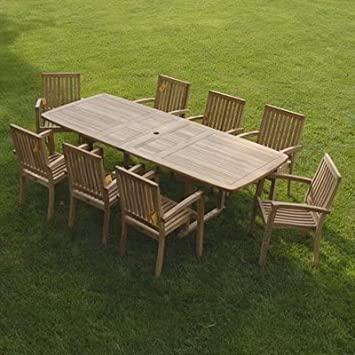 New 9pc Grade A Teak Outdoor Dining Set One Double Extension Table 8