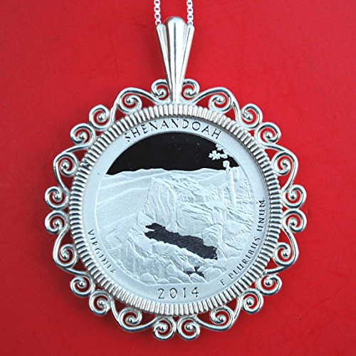 US 2014 Virginia Shenandoah National Park Quarter 90% Silver Proof Coin 925 Sterling Silver Necklace NEW - America the Beautiful