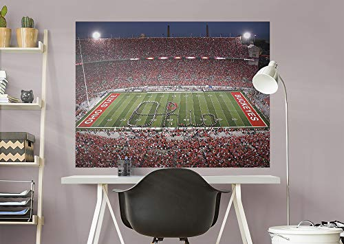 FATHEAD NCAA Ohio State Buckeyes - Ohio Script Stadium Mural- Officially Licensed Removable Wall Decal, Multicolor, Giant