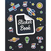 Sticker Book: Space Rockets Planets Icons Blank Sticker Books Collection Album Journal To Put Stickers In boys,girls