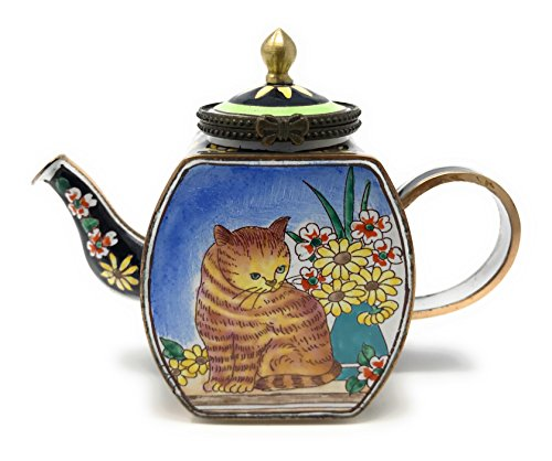 Kelvin Chen Enameled Miniature Tea Pot - Brown Cat