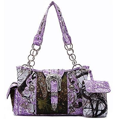 Western origin Camouflage rhinestone Buckle Shoulder Bag Totes Purse Handbag Wallet Set