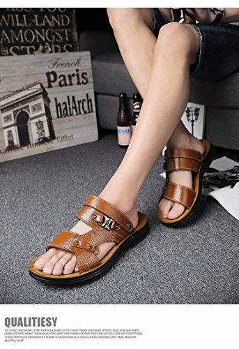 Sommer Das neue Echtleder Männer Sandalen Freizeit Schuh Männer Rutschfest Sandalen Strand Schuh Trend ,braun,US=7.5,UK=7,EU=40 2/3,CN=41