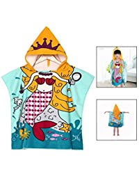 LHKJ Beach Cloak Poncho for Little Girls with Princess Pattern of Mermaids, with Hood, can be Used as a Bathrobe and Beach Towel, Quick-Drying