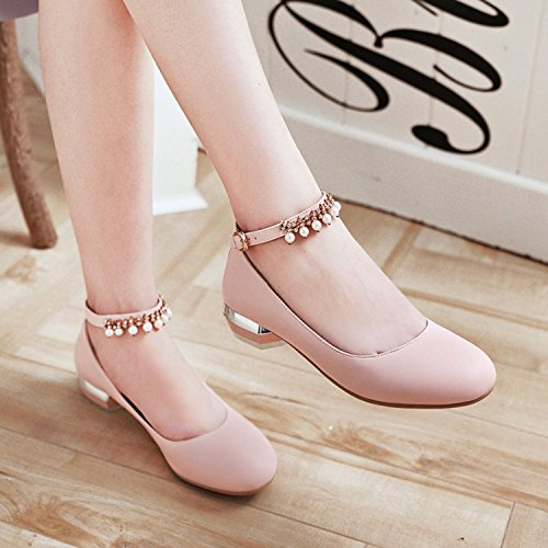 KPHY Beaded Belt Heel Rough Heel Single Shoe Shoes Shoes Sweet Casual Buckle Beads Woman Work Shoes Mouth Pink Tide Shallow Low rx4qAr