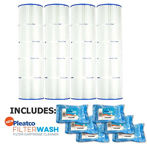Pleatco Cartridge Filter PCC105-PAK4 Pack of 4 Pentair Clean & Clear Plus 420 Waterway CW425 C-7471 w/ 6x Filter Washes by Pleatco