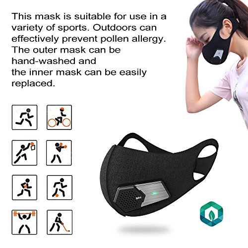 Smart Electric Masks Fresh Air Purifying Mask Anti Pollution Mask N95 for Exhaust Gas, Pollen Allergy, PM2.5, Running, Cycling and Outdoor Activities (Black, mask) by ruishenger (Image #4)