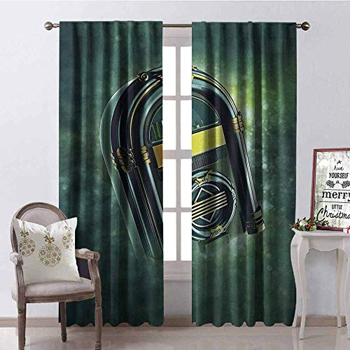 (GloriaJohnson Jukebox 99% Blackout Curtains Abstract Grunge Antique Radio Music Box on Blurry Backdrop Print for Bedroom- Kindergarten- Living Room W52 x L84 Inch Forest Green Yellow and White )