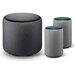 Echo Sub Bundle with 2 Echo Plus (2nd Gen) Devices - Heather Gray
