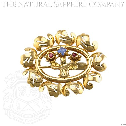 Brilliant Cut White Brooch (0.26ct. Natural Blue and Ruby Sapphrie Brooch (J1009))