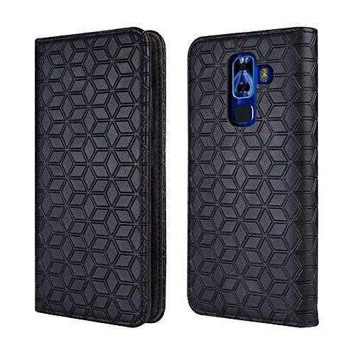 NUU G3 Case, NUU G3+ Case[Kickstand] [Card Slot+Side Pocket] Premium Soft PU Color Matching Leather Wallet Cover Flip Case Protective Case for NUU G3 (Black)