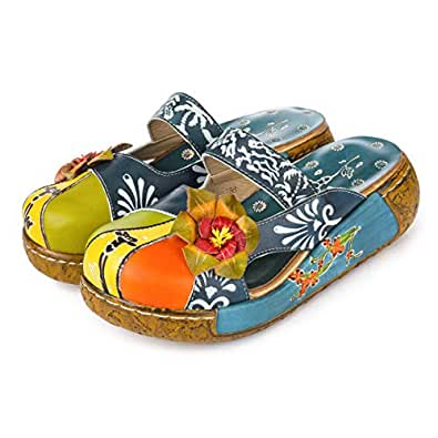 gracosy Leather Slipper, Women's Oxford Slipper Vintage Slip-Ons Mule Clog Colorful Flower Backless Loafer Shoes Blue Size: 5