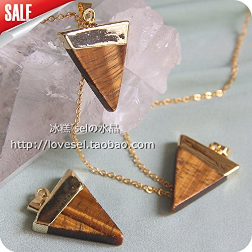 Special Offer Natural Tiger Eye triangle necklace pendant rt original single fashion sweater chain natural crystal pendant